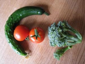 漢方の野菜(とまと、きゅうり、ぶろっこりー)