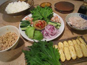 漢方の手巻き寿司